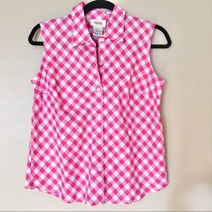 Talbots sleeveless button down pink gingham top SP